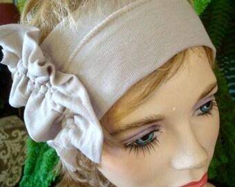 Womens headbands adult headband extra fine merino beige wide Headband yoga hairband with ruffle bow