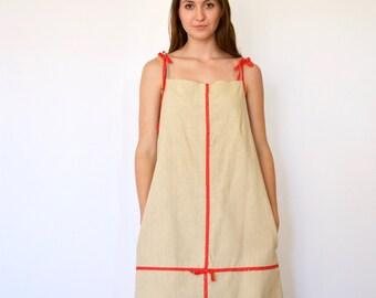 60s Bandana Trim Burlap Spaghetti Strap Tent Dress s m l