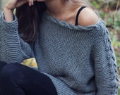 KNITTING PATTERN - River Braid Sweater - Fall Sweater With Cable - Oversized Loose Fit - One Size - Digital Download - PDF