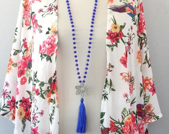 Tassel necklace, long tassel necklace, bohemian necklace, beaded tassel necklace, cobalt blue boho necklace, boho jewelry, mothers day gift