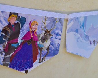 FROZEN Banner Vintage Little Golden Book Bunting Princess party storybook Repurposed story book Decoration baby shower