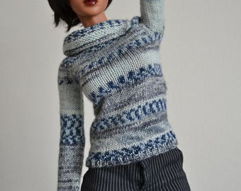 Blue and grey, hand-knitted sweater for Iplehouse SID or EID dolls, will also fit Dollshe 70cm