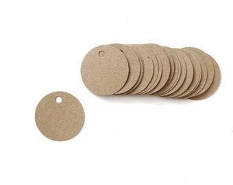 250 Mini Kraft Paper Tags Circle Blank