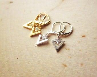 Handmade Triangle Earrings Gold Triangle Earrings Crystal Silver Triangle Earrings CZ Triangle Earrings Gold Dangle Arrow Earring Silver
