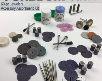 FOREDOM AK11 60 Piece Flexible Shaft Attachment set for Jewelry Making Jewelers Accessory Assortment Bits Buffs and Directions Polishing Kit