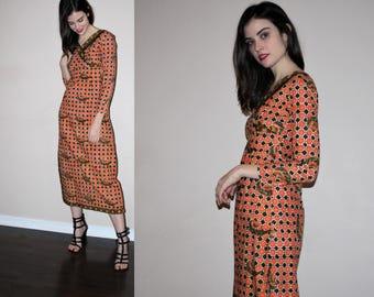 Vintage 1960s Mod Ethnic Tribal Graphic Hippie Maxi Dress - 60s Maxi Dresses - W00756