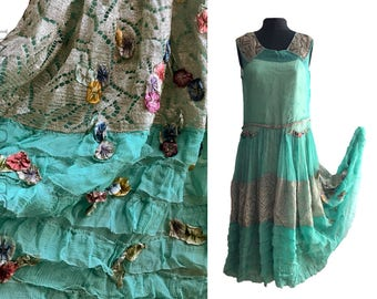 1920s Flapper Dress. Silver Lamé & Turquoise Silk with Ribbonwork Flowers, Beading, Ruffles. Vintage Wedding. Jazz Age. Art Deco. 20s.