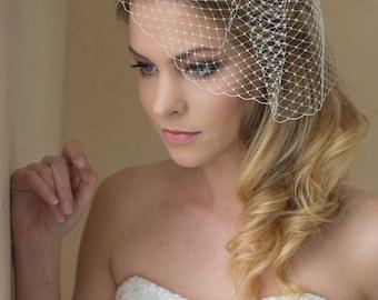 Bridal Veil, Wedding birdcage Veil, Wedge birdcage veil,Bridal Blusher veil,  Small Russian netting birdcage veil, Wedding hair accessory