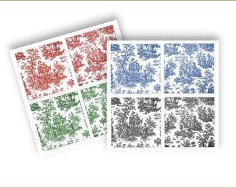 PRINTABLE TILES - Fleur de lis and Toile 4 inch  -  printable digital download for crafts and more