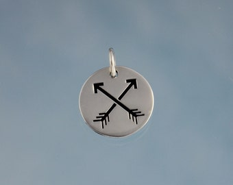 Sterling Silver Friends Crossed Arrow Charm with Soldered Jump Ring with  .925 stamp on back - for friendship