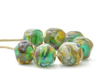 Nugget Beads | Green Lampwork Glass Beads | Tropical Swirl Bead Set | Handmade Beads | UK SRA | Artisan beads