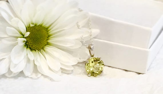 Yellow Quartz Necklace Sterling Silver 3.50 Carats
