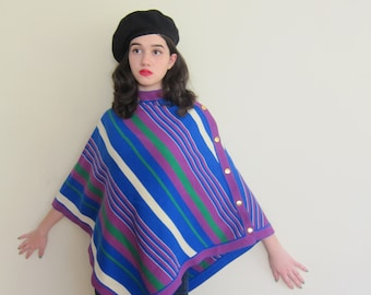 Vintage 1970s Striped Poncho Sweater / 70s Multicolored Blue Knit Poncho With Stripes / Banff Beeline