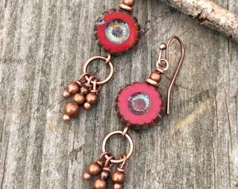 Red earrings, red boho jewelry, red dangle earrings, Czech glass jewelry