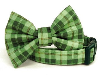 Green Plaid Bow Tie Dog Collar - Irish Plaid