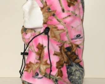 Mossy Oak Pink Camouflage Adult Fleece Balaclava Hat - Camo - Ski Mask - Gift For Her - Mothers Day Gift  - Gift For Hunter - Unique Gift -