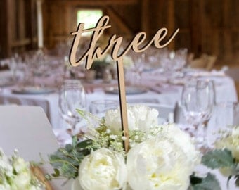 Rustic Table Numbers for Wedding on Sticks, Extra Tall for Table Number Wood or Custom Painted Wedding Decor Centerpiece (Item - LWS100)