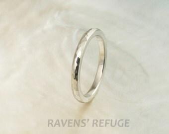 handmade wedding band -- 2mm hammered platinum ring, comfort fit