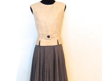 vintage pleat-skirt dress set - 1950s California Girl taupe/grey zip back dress