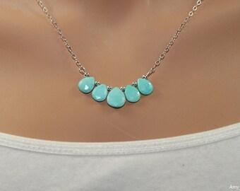 Sleeping Beauty Turquoise Necklace, Turquoise Jewelry, December Birthstone, Minimalist, Gemstone Necklace, Something Blue