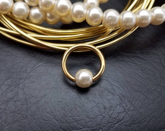 "16g 14g 5/16"" (8mm) White Glass Pearl Gold Captive Bead Ring Hoop Helix Ring Tragus Cartilage Navel Ring Septum 316lvm Steel"