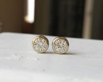 Simple Moissanite Stud Earrings - 14kt White Gold - Diamond Alternative - Bezel - Basic, Minimalist