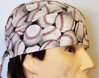 Handmade large baseballs on blue skull or chemo cap, hat, surgical cap, hair loss, bald, motorcycle, do rag, baseball field, helmet liner