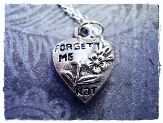 Silver Forget Me Not Heart Necklace - Antique Pewter Forget Me Not Heart Charm on a Delicate Silver Plated Cable Chain or Charm Only