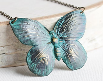 Blue Butterfly Necklace, Hand Patina Jewelry, Large Butterfly Pendant on Antiqued Brass Chain, Butterfly Lover Gift, Summer Jewelry