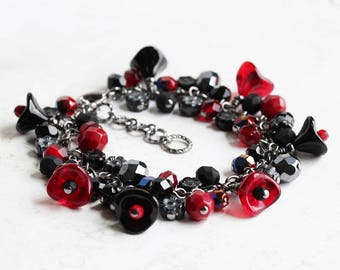 Red and Black Bracelet, Black Beaded Bracelet on Gunmetal, Flower Cluster Bracelet, Black and Red Bracelet, Chunky Bracelet, Floral Jewelry