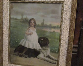 """FREE SHIP Antique Ornate Cream Gold Gesso Victorian Scroll Designs Framed """"Playmates"""" St. Bernard Girl Print Old Wavy Glass Picture Frame"""