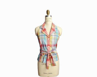 Vintage 90s Madras Plaid Wrap Halter Top by Limited / Summer Halter Top - women's medium