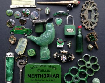 Sunday walk in the forest... The Emerald Green mismatched little treasures. Precious instant collection of found objects and things.