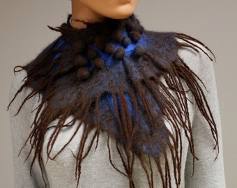 Felt scarf wool collar shibori blue brown accessory exclusive autumn boho Regina Doseth handmade in EU neck warm winter light