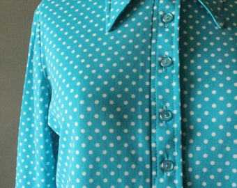 Vintage 70's Teal and White Polka Dot Long Sleeve Button Up Collared Shirt by Alex Coleman of California