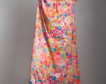 SALE plus size vintage 70s kaftan muumuu hostess dress pink floral long sleeves belted ONE Size S M L XL