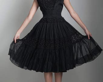 vintage 50s black party dress wasp waist fit and flare beaded lace full skirt XS S extra small - small