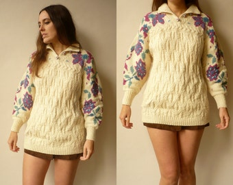 1980's Vintage Novelty Floral & Cable Knitted Wool Jumper