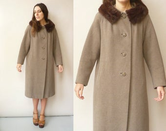 1950's 1960's Vintage Wool Mix Princess Swing Coat With Rabbit Fur Collar Size M/L