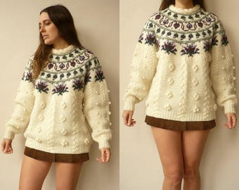 1980's Vintage Wool Novelty Nordic Textured Bobble Jumper