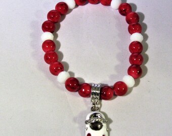 White Shoe with Red Hearts Stretchy Bracelet