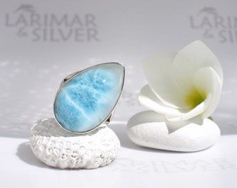 Larimar ring size 7.5 by Larimarandsilver, Blue Fountain - fizzy azure Larimar pear, water drop, spring blue drop ring handmade Larimar ring