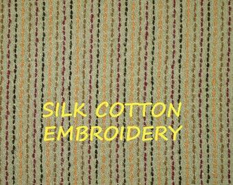 1-1/2 YARDS, Parchment Silk Needle, Schoner Home Decor or Fashion Fabric, Orange Brown Magenta Threads, Silk Cotton Blend, B20