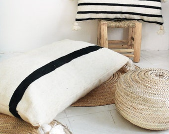 Giant Wool Floor Cushion - Black Pompoms - Black Strip