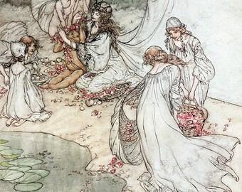 She Never Had so Sweet a Changeling,  Arthur Rackham, Vinatge Art Print