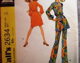 Vintage 1970s Misses Dress or Top and Pants Size 12 McCalls Pattern 2634 UNCUT