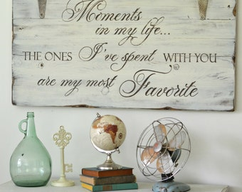 Wooden Quote Sign, Moments Sign, Rustic Wall Decor, Farmhouse Sign, Bedroom Sign