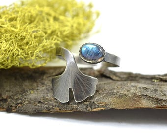 Labradorite Ginkgo Leaf Ring - Adjustable Gemstone Ring in Sterling Silver - Botanical Ring - Labradorite Ring Sizes 7-9 - C