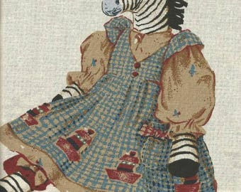 Daisy Kingdom Fabric Panel Zelda Zebra Cut Sew Stuff Doll Toy Soft Sculpture Doll