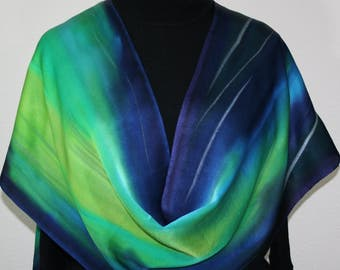 Green, Turquoise, Navy Blue Hand Painted Scarf. Handmade Silk Satin Shawl AURORA BOREALIS - by Silk Scarves Colorado. Offered in Two SIZES